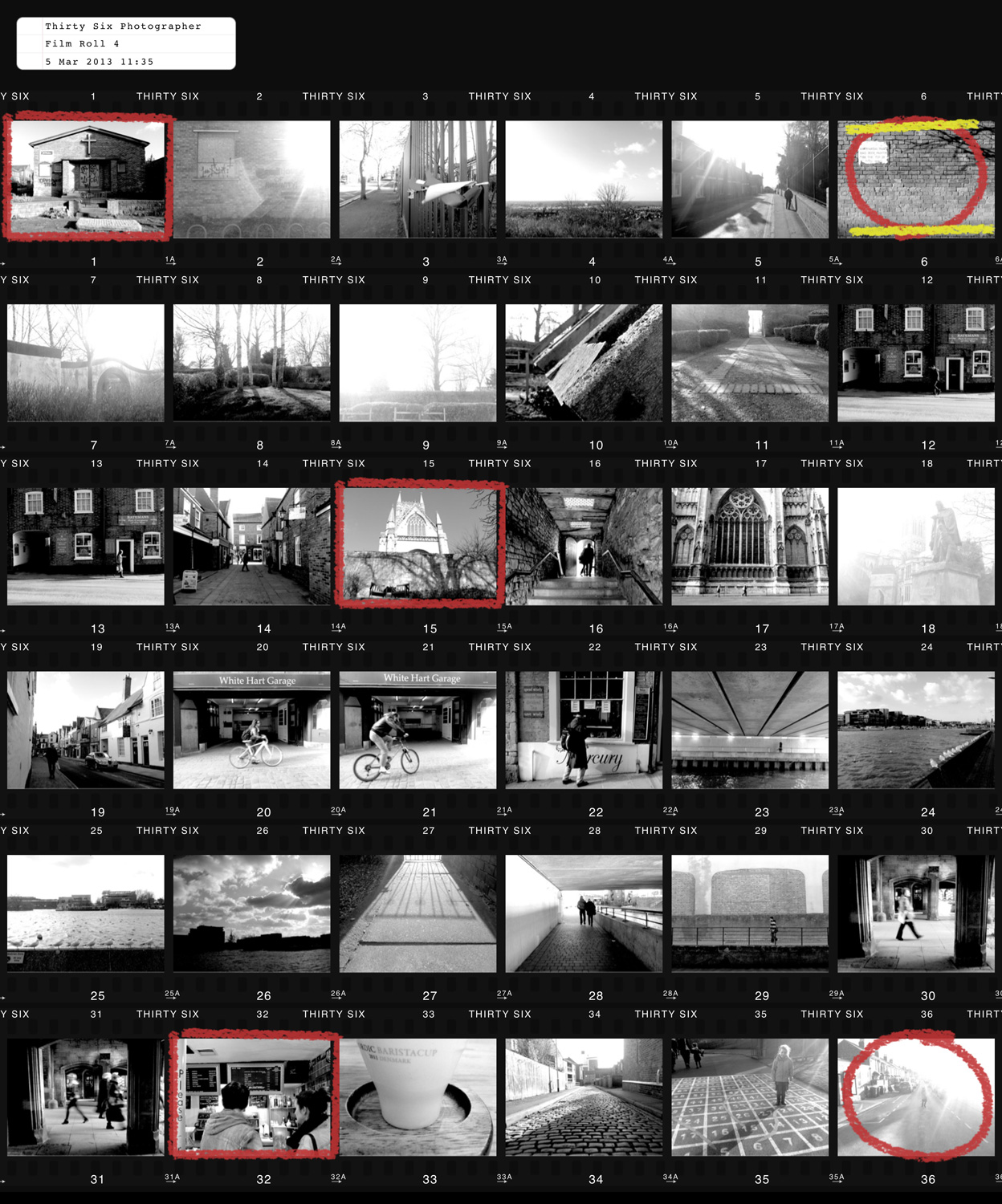 Phoneography - Thirty Six contact sheet